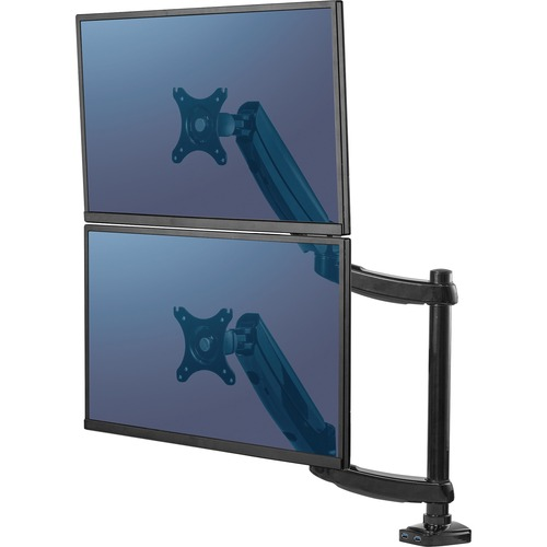 """Fellowes Platinum Series Dual Stacking Monitor Arm - 2 Display(s) Supported27"""" Screen Support - 19.96 kg Load Capacity - 1 Each"""