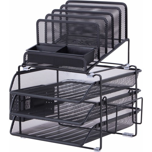 "Lorell Divided 4-tier Desktop Organizer - 4 Tier(s) - 15.8"" Height x 12.9"" Width x 14.4"" Depth - Desktop - Black - Plastic, Mesh - 1Each"