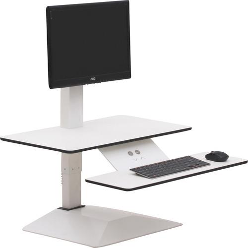 "Lorell Sit-to-Stand Electric Desk Riser - 21.6"" Height x 26.6"" Width x 25"" Depth - Desktop - Aluminum - White"