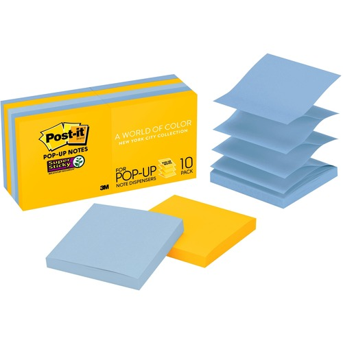 Business Source Yellow Repositionable Adhesive Notes - 3