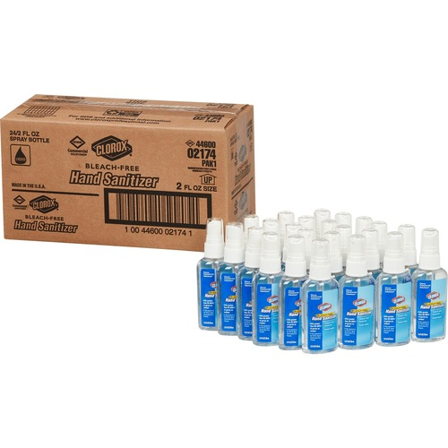 Clorox Commercial Solutions Hand Sanitizer Spray - 2 fl oz (59.1 mL) - Kill Germs - Hand - Clear - Non-sticky, Non-greasy, Bleach-free - 24 / Carton
