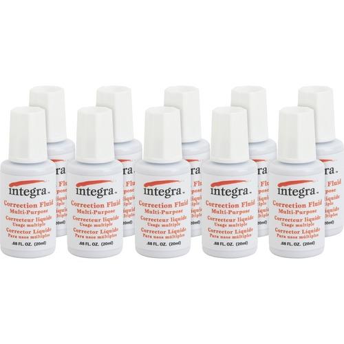 Integra Multipurpose Correction Fluid - Brush Applicator - 0.74 fl oz - White - 10 / Box