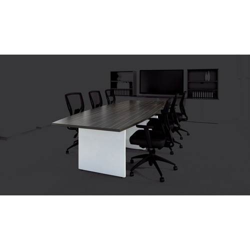 """Offices To Go 120"""" Boatshaped Conference Table - 120"""" x 48"""" x 29"""" , 0.1"""" Edge - Material: Polyvinyl Chloride (PVC) Edge - Finish: Silver Handle, Silver Lock, Asian Night, Designer White, Thermofused Laminate (TFL)"""