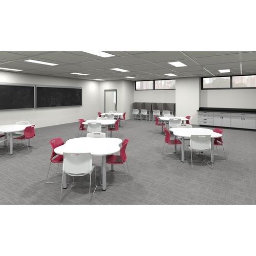 """Global Zook Student Table - Designer White Square Top - Post Leg Base - 59"""" Table Top Width x 59"""" Table Top Depth - 29"""" Height"""