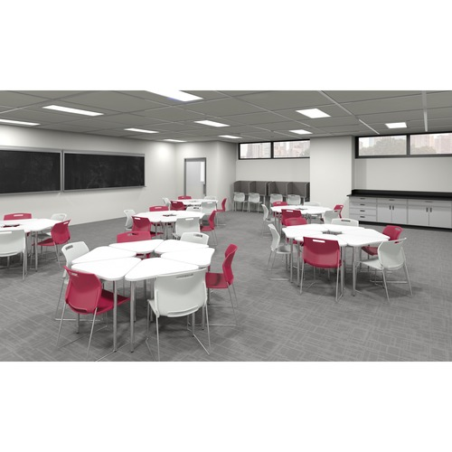 """Global Zook Student Table - Designer White Triangle Top - 30"""" Table Top Width x 25"""" Table Top Depth - 29"""" Height"""