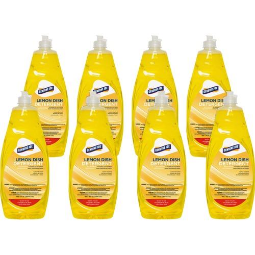 Genuine Joe Lemon Dish Detergent - Concentrate Liquid - 38 fl oz (1.2 quart) - Lemon Scent - 8 / Carton - Yellow