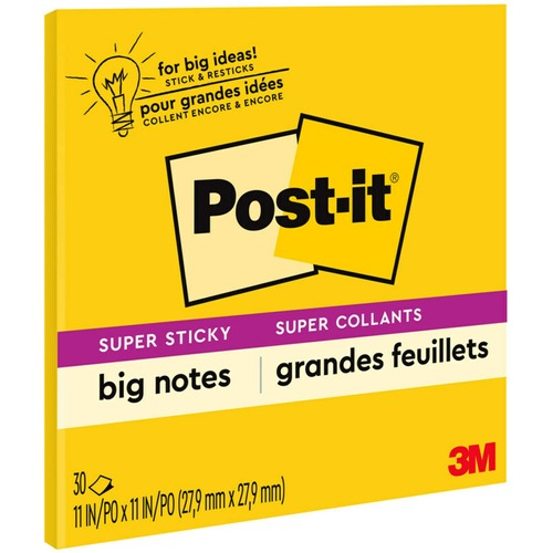 """Post-it® Super Sticky Big Notes - 10.98"""" x 10.98"""" - Square - Yellow - 30 / Each"""