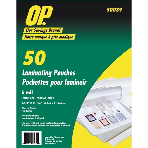 OP Brand Laminating Pouches - Laminating Pouch/Sheet Size: 5 mil Thickness - 50 / Pack