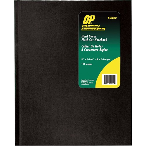 OP Brand Hard Cover Notebook - 192 Pages - Sewn - Ruled - Black Cover - Acid-free