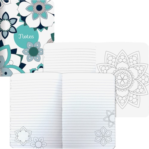 Blueline Notebook - 160 Pages - Sewn - RuledMandala - Flexible Cover, Acid-free - Recycled - 1Each