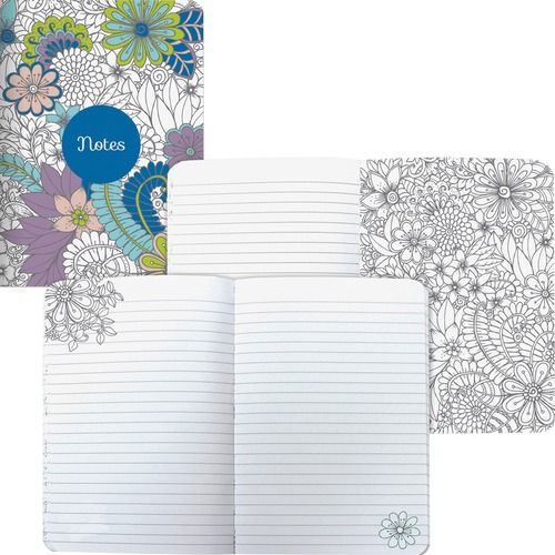 Blueline Notebook - 160 Pages - Sewn - RuledFloral - Flexible Cover, Acid-free - Recycled - 1Each