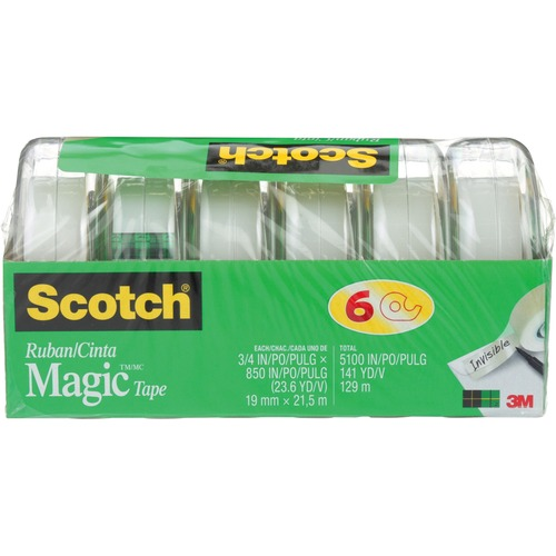 """Scotch Magic™ Gift Craft Tape, M850-6MP-ESF, 0.75 in x 23.6 yd - 2 ft (0.6 m) Length x 0.75"""" (19.1 mm) Width - 6 / Pack"""