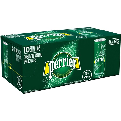 Perrier Bottled Water - 250 mL - Can - 10 / Case