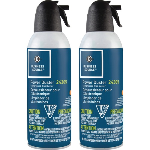 Business Source Power Duster - 10 oz - Moisture-free, Ozone-safe - 2 / Pack - Multi