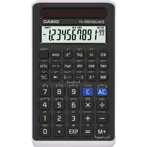 "Casio FX 260 SOL II Scientific Calculator - 144 Functions - Easy-to-read Display - 10 Digits - Solar Powered - 5"" x 0.6"" x 2.9"" - Black - 1 Each"