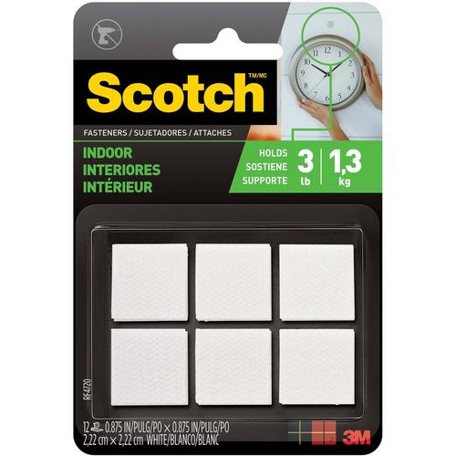 Scotch Indoor Hook/Loop Fasteners - 12 / Pack - White