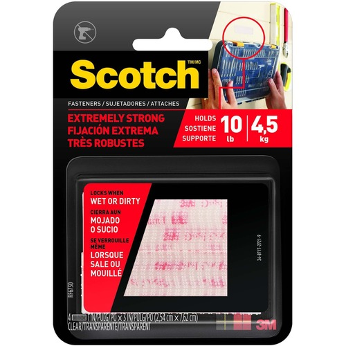 """Scotch 1""""x3"""" Extreme Fasteners - 1 / Pack - Clear"""