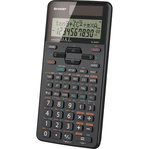 "Sharp EL-520XTBBK Scientific Calculator - 419 Functions - 2 Line(s) - 10 Digits - Battery/Solar Powered - 0.6"" x 3.3"" x 5.3"" - Black - 1 Each"
