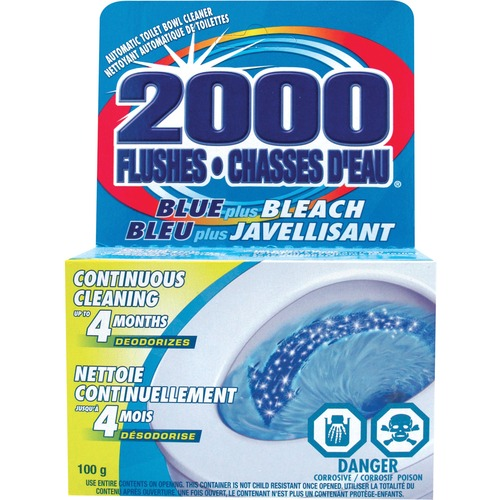 2000 Flushes Blue/Bleach Bowl Cleaner Tablets - Tablet - 3.5 fl oz (0.1 quart) - 1 Each - Blue