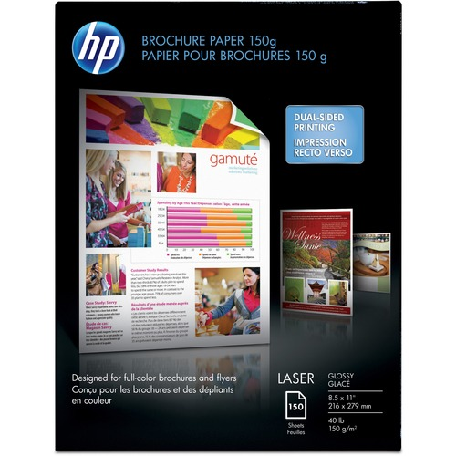 """HP Laser Brochure/Flyer Paper - White - 97 Brightness - Letter - 8 1/2"""" x 11"""" - 40 lb Basis Weight - Glossy - 150 / Pack"""