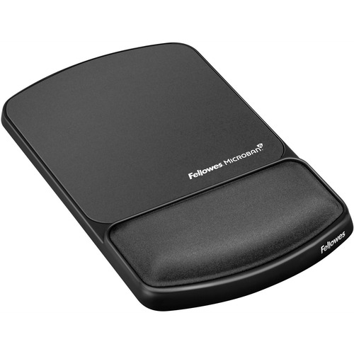 """Fellowes Mouse Pad / Wrist Support with Microban® Protection - 0.9"""" x 6.8"""" x 10.1"""" Dimension - Graphite - Polyester, Gel, Lycra Cover - Wear Resis"""