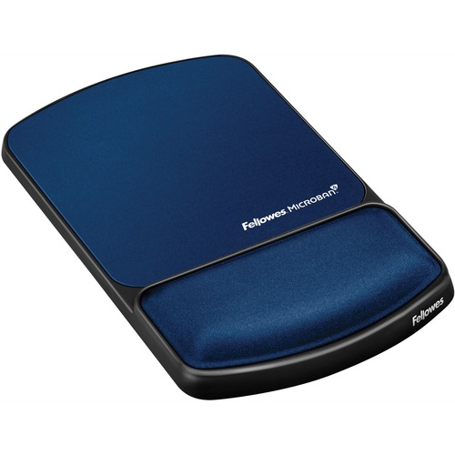 "Fellowes Mouse Pad / Wrist Support with Microban® Protection - 0.9"" x 6.8"" x 10.1"" Dimension - Sapphire - Gel, Polyester, Lycra Cover - Wear Resis"