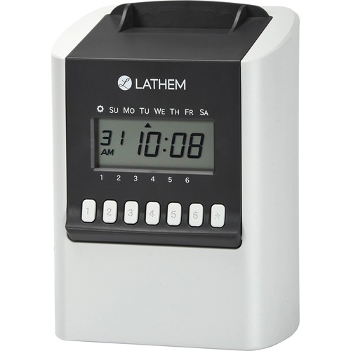 lathem 700e calculating electronic time clock card punch stamp