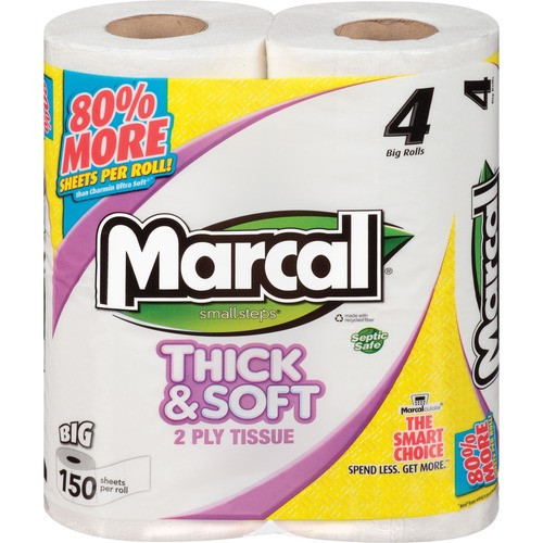 Marcal Thick & Soft Bath Tissue - 2 Ply - White - Hypoallergenic, Durable, Soft, Dye-free, Chlorine-free, Fragrance-free, Eco-friendly, Septic Safe -