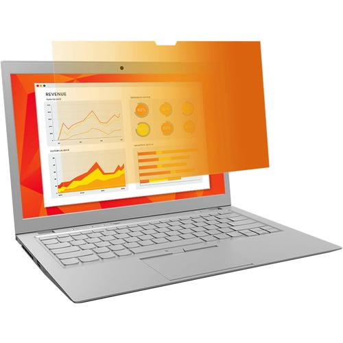 """3M Privacy Screen Filter Gold - For 13.3"""" Widescreen Notebook - 16:10 - Scratch Resistant"""