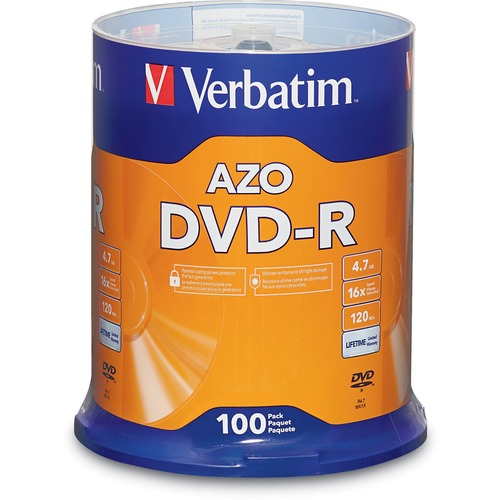 Verbatim AZO DVD-R 4.7GB 16X with Branded Surface - 100pk Spindle |95102