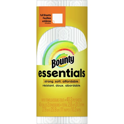 Bounty Essentials Paper Towel Rolls - 2 Ply - 40 Sheets/Roll - White - For Kitchen - 30 / Carton