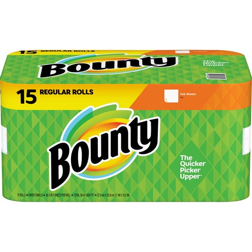 Bounty Paper Towel Rolls - 2 Ply - 36 Sheets/Roll - White - Absorbent - For Kitchen - 540 Quantity Per Carton - 540 / Carton