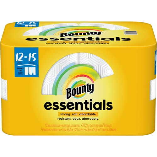 Bounty Essentials Select-A-Size Towels - 2 Ply - 78 Sheets/Roll - White - For Kitchen - 936 Quantity Per Carton - 12 / Carton