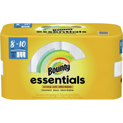 Bounty Essentials Select-A-Size Towels - 2 Ply - 78 Sheets/Roll - White - For Kitchen - 624 Quantity Per Carton - 624 / Carton