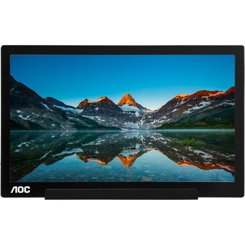 AOC I1601FWUX 39.6 cm 15.6And#34; Full HD LED LCD Monitor - 16:9 - Glossy Piano Black, Silver - 1920 x 1080 - 262,000 Colors - 220 cd/mAndamp;#178; - 5 ms - USB Type-C