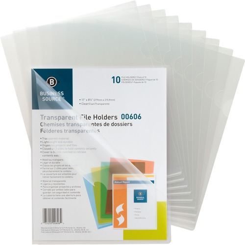 """Business Source Transparent Poly File Holders - Letter - 8 1/2"""" x 11"""" Sheet Size - 20 Sheet Capacity - Polypropylene - Clear - 10 / Pack"""