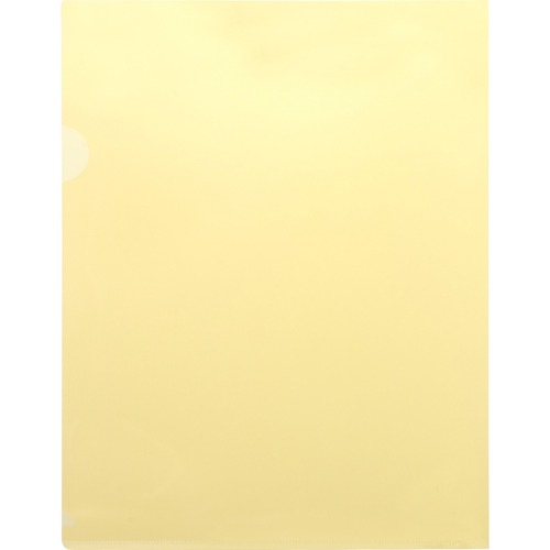 """Business Source Transparent Poly File Holders - Letter - 8 1/2"""" x 11"""" Sheet Size - 20 Sheet Capacity - Polypropylene - Yellow - 10 / Pack"""