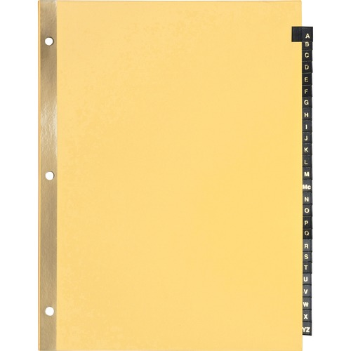"""Business Source A-Z Black Leather Tab Index Dividers - 26 Printed Tab(s) - Character - A-Z - 8.50"""" Divider Width x 11"""" Divider Length - Letter - 3 Hol"""