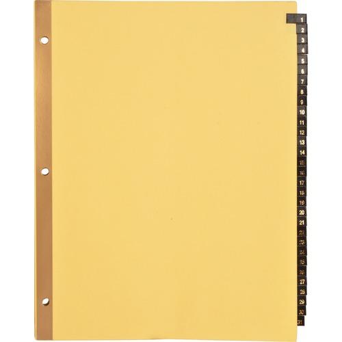 "Business Source 1-31 Black Leather Tab Index Dividers - 31 Printed Tab(s) - Digit - 1-31 - 8.50"" Divider Width x 11"" Divider Length - Letter - 3 Hole"