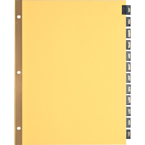 """Business Source Monthly Black Leather Tab Index Dividers - 12 Printed Tab(s) - Month - January-December - 8.50"""" Divider Width x 11"""" Divider Length - L"""