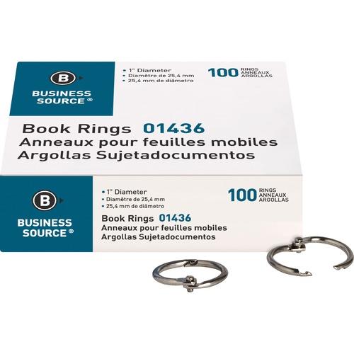 "Business Source Standard Book Rings - 1"" (25.40 mm) Diameter - Silver - Nickel Plated - 100 / Box"