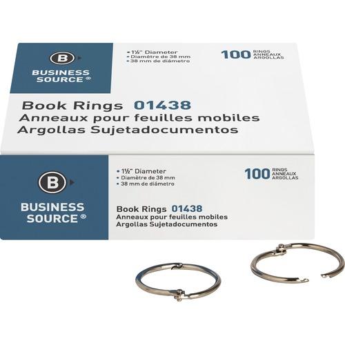 "Business Source Standard Book Rings - 1.50"" (38.10 mm) Diameter - Silver - Nickel Plated - 100 / Box"