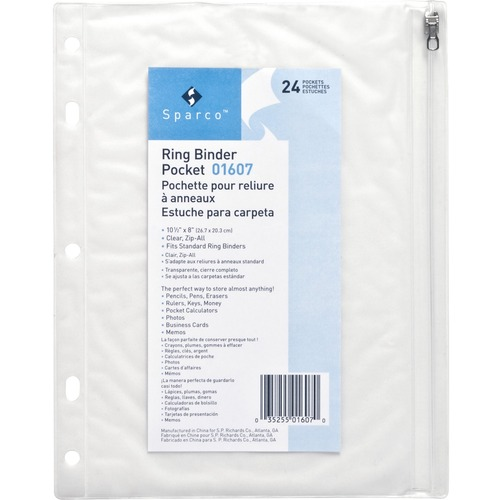 """Business Source Punched Economy Binder Pocket - 10"""" Height x 8"""" Width - 7 x Holes - Ring Binder - Clear - Plastic - 1 Each"""