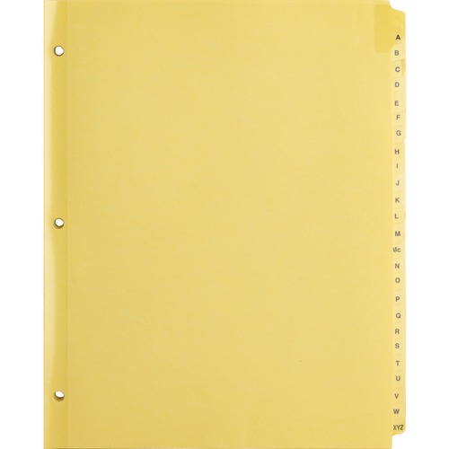 """Business Source A-Z Clear Plastic Tab Index Dividers - Printed Tab(s) - Character - A-Z - 25 Tab(s)/Set - 8.50"""" Divider Width x 11"""" Divider Length - L"""