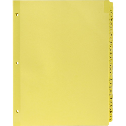 """Business Source Preprinted 1-31 Tab Index Dividers - Printed Tab(s) - Digit - 1-31 - 31 Tab(s)/Set - 8.50"""" Divider Width x 11"""" Divider Length - Letter"""
