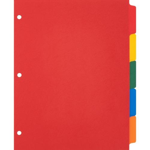 "Business Source Plain Tab Color Polyethylene Index Dividers - Blank Tab(s) - 5 Tab(s)/Set - 8.50"" Divider Width x 11"" Divider Length - Letter - 3 Hole"