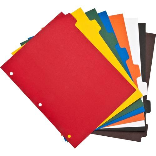 "Business Source Plain Tab Color Polyethylene Index Dividers - Blank Tab(s) - 8 Tab(s)/Set - 8.50"" Divider Width x 11"" Divider Length - Letter - 3 Hole"
