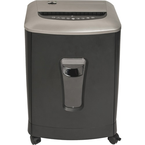 "<p>Compact cross-cut shredder offers protection for discarded confidential documents in your small or medium-size office. Stacked cutters shred 12 sheets per pass into confetti (P-3 Security Level) as well as credit cards, staples and paper clips. Paper entry is 8-2/3"" wide. Duty cycle is 3 minutes on and 30 minutes off. The 220mm motor operates at 65-decibel for low noise. Pullout waste bin holds 4.23 gallons. When the bin is removed, the shredder will automatically shut off for your safety. Shredder also features overheat protection and rolls easily on four casters (two locking).</p> <p>"
