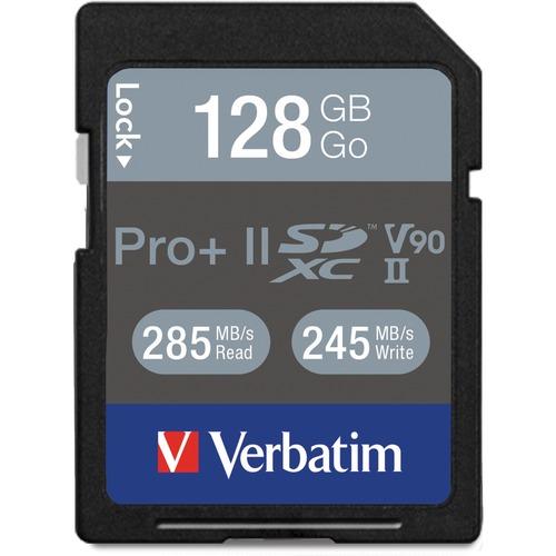 Verbatim Pro II Plus 128 GB SDXC - Class 10/UHS-II (U3) - 285 MB/s Read - 245 MB/s Write1 Pack - 1900x Memory Speed