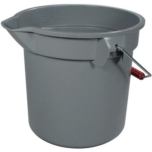 Rubbermaid Brute Pail Bucket - 13.20 L - Graduated, Heavy Duty - Gray - 1 Each